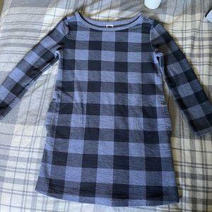 Old Navy Girls Blue Plaid Long Sleeve Dress